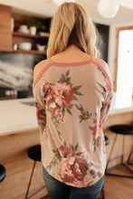 Load image into Gallery viewer, Waffle Meets Floral Top in Taupe