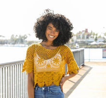 Load image into Gallery viewer, Crochet Short Sleeve Crop Top