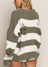 Load image into Gallery viewer, Distressed Sweater- Olive