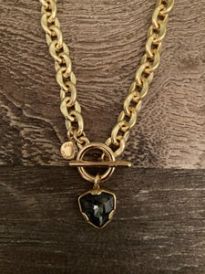 Black Heart Toggle Necklace