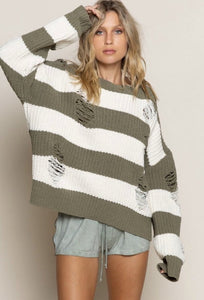 Distressed Sweater- Olive