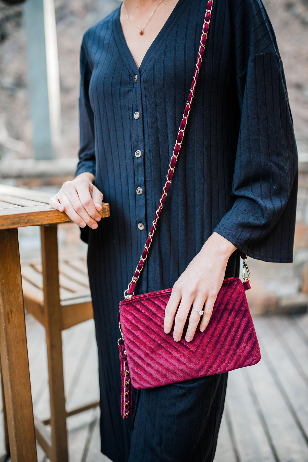 Velvet Chevron Crossbody Clutch In Burgundy
