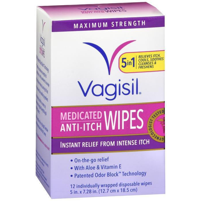 Vagisil Anti-Itch Medicated Wipes, Maximum Strength 12 ea