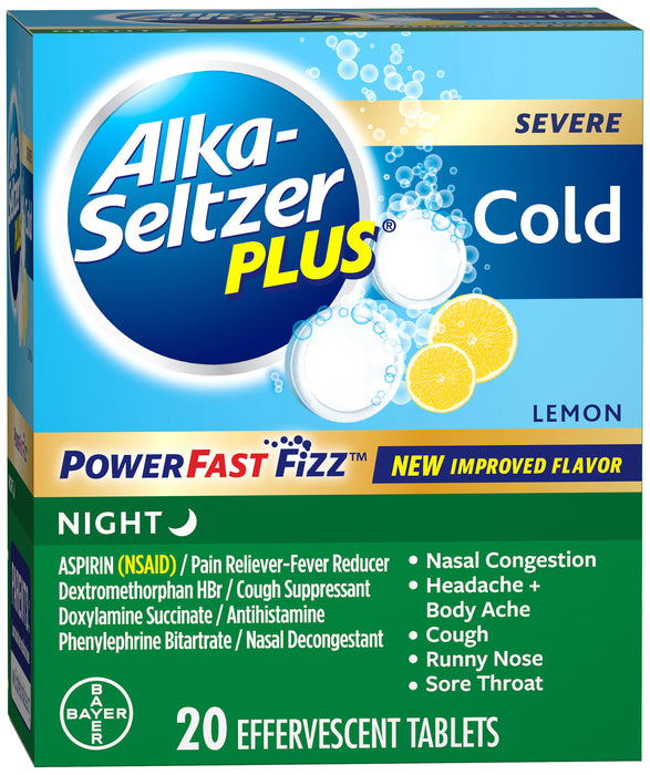 Alka-Seltzer Plus Night Cold Medicine, Lemon Effervescent Tablets 20 count