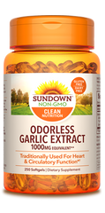 Sundown Odorless Garlic Extract Softgels, 1000mg, 250 Count