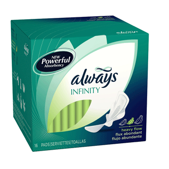 Always Infinity Heavy Flow Pads with Flexi-Wings, Unscented 16 CT