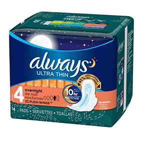 ALWAYS Ultra Thin Size 4 Overnight Pads With Wings Unscented, 14 CT