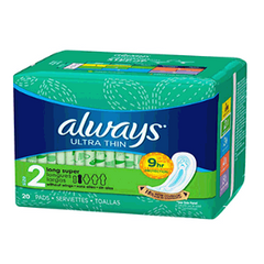 Always Ultra Thin Pads without Wings, Long Super 20 ct
