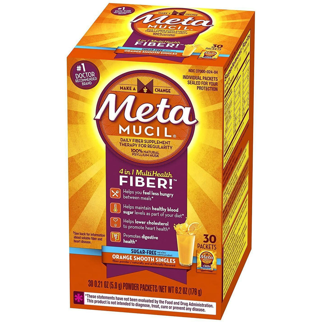 Metamucil Fiber Singles Smooth Texture Sugar Free Orange - 30 Packets