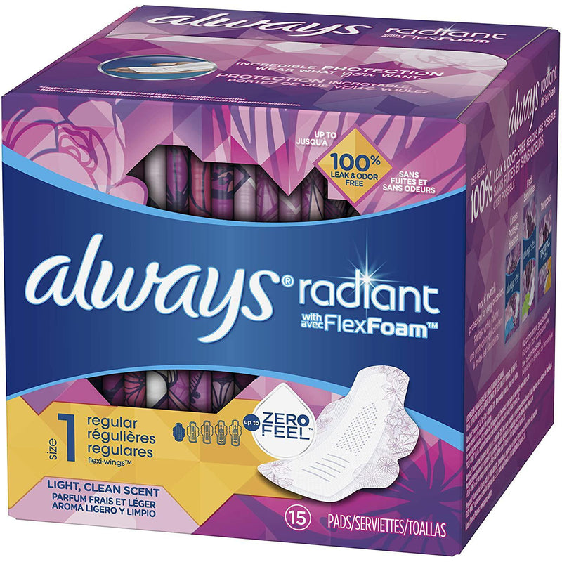 Always Radiant Pads, Regular Absorbency, Scented, Size 1, 15 ct