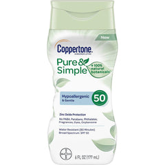 Coppertone Pure & Simple Adult SPF 50 Sunscreen Lotion, 6 Fl oz