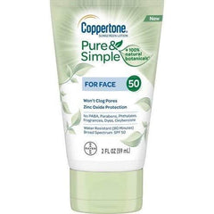 Coppertone Pure & Simple For Face SPF 50 Sunscreen Lotion, 2 Fl. oz