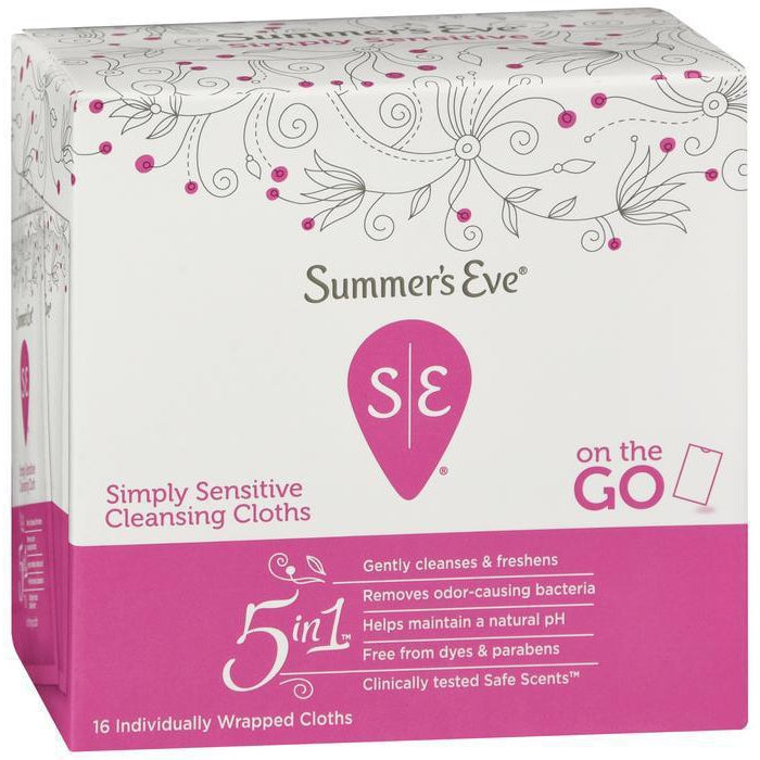 Summer's Eve Simply Sensitive Cleansing Cloths For Sensitive Skin, 16 CT