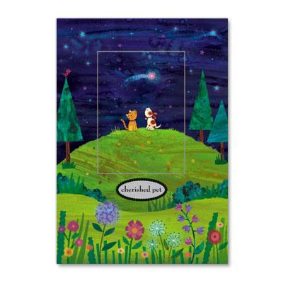 "Papyrus Greeting Cards Night Scene cat and dog ""cherished pet"" sympathy loss of pet condolence card"