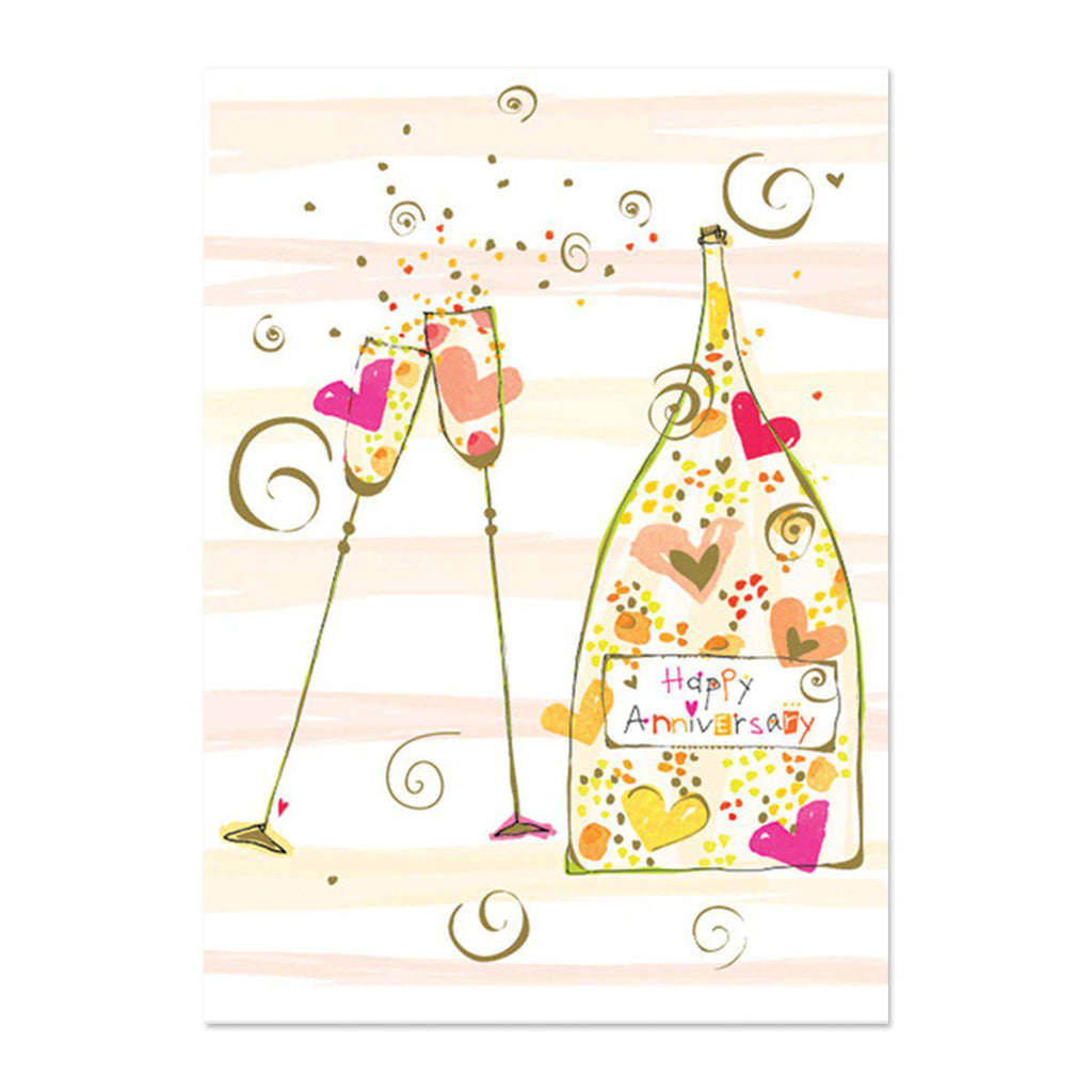 PAPYRUS Anniversary - Champagne bottle and flutes
