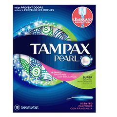 Tampax Pearl Plastic Fresh Scent Tampons, Super Absorbency, 18 CT