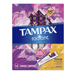 Tampax Radiant Regular Absorbency Plastic Tampons, Unscented, 14 CT