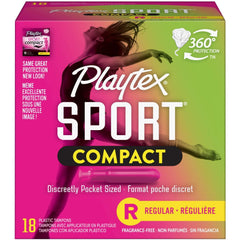 Playtex Sport Compact Plastic Tampons, Unscented, Regular, 18 CT