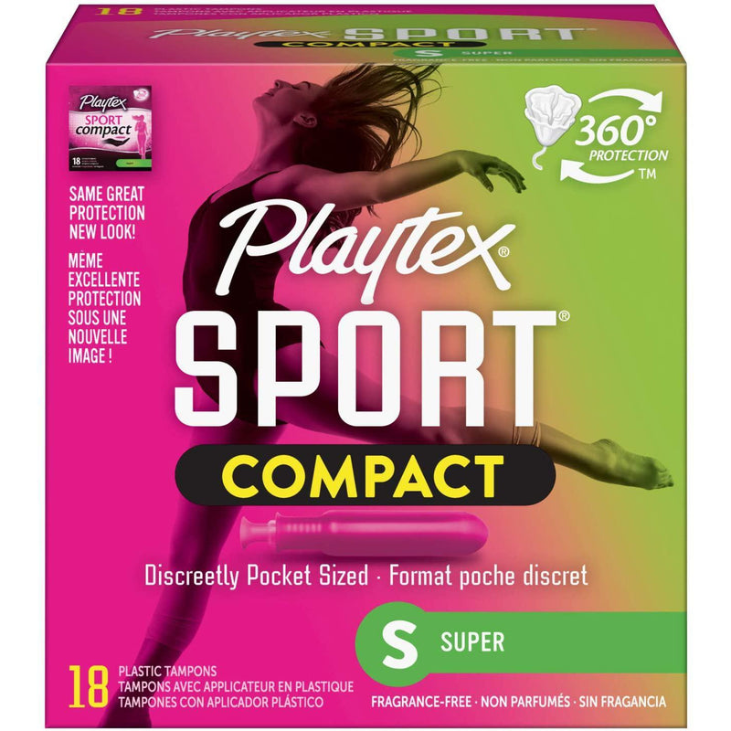 Playtex Sport Compact Plastic Tampons, Unscented, Super, 18 CT