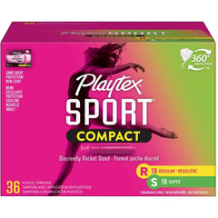 Playtex Sport Compact Plastic Tampons, Unscented, Regular/Super, 36 CT