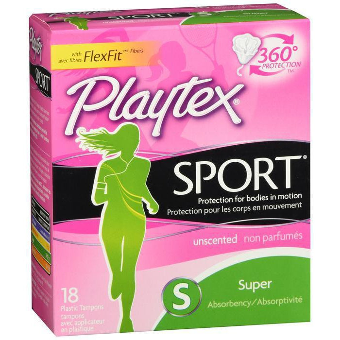 Playtex Tampon Sport Super Unscented 18 Ct
