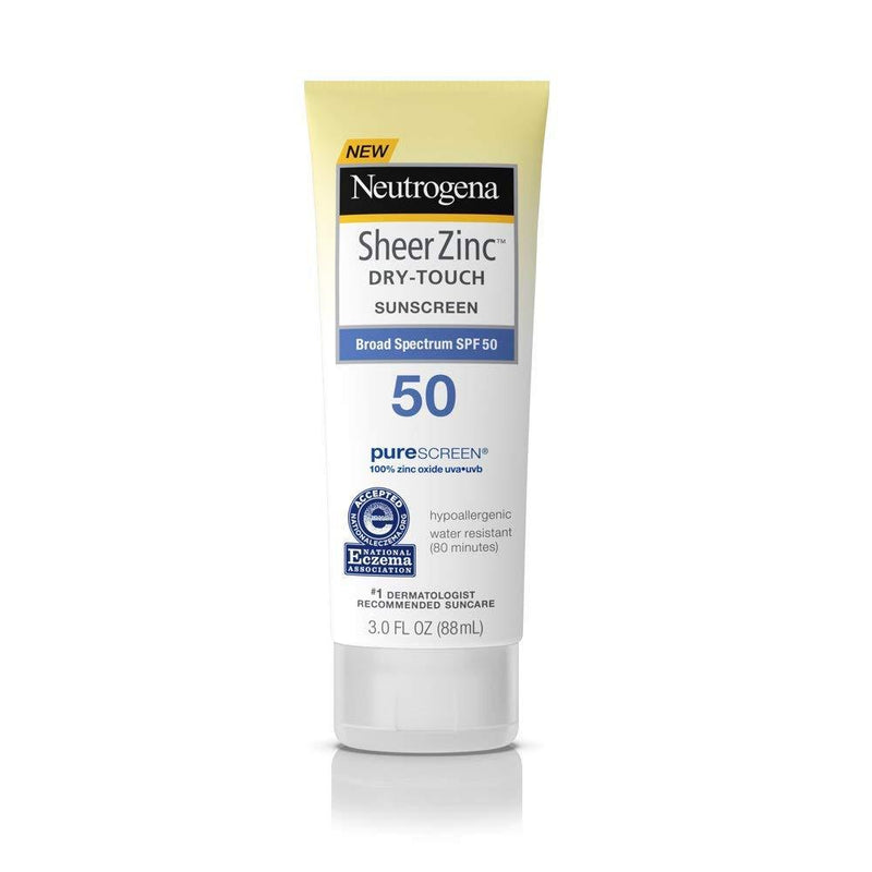 Neutrogena Sheer Zinc Dry-Touch Sunscreen Lotion with SPF 50, 3 Fl. oz