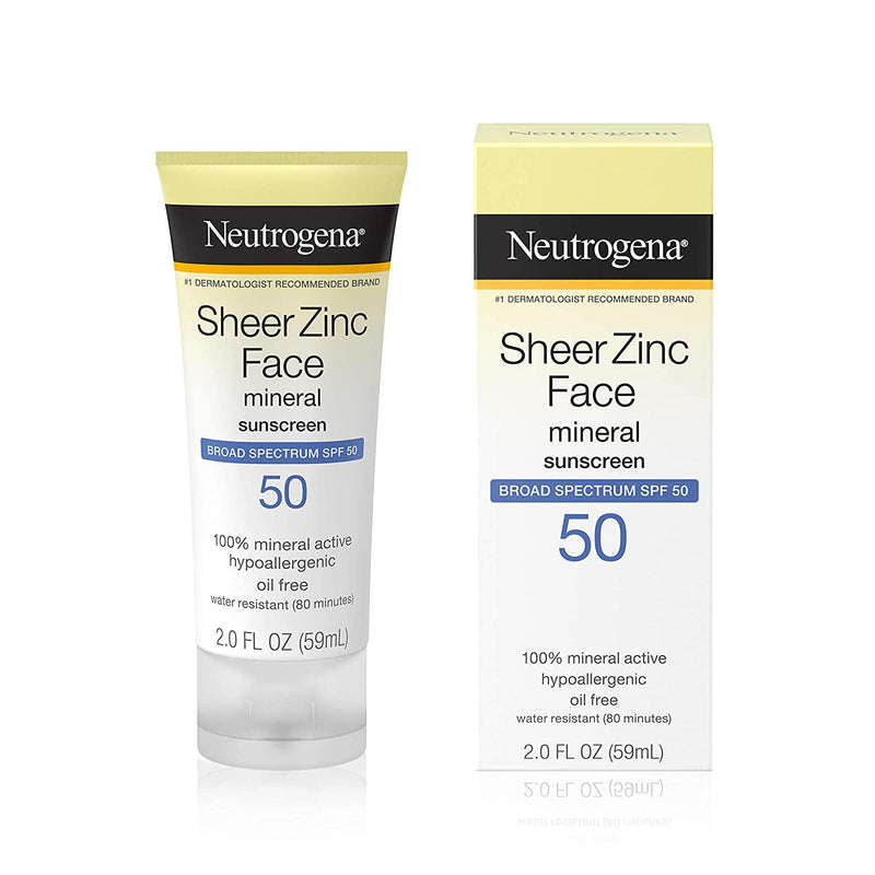 Neutrogena Sheer Zinc Dry-Touch Face Sunscreen with SPF 50, 2 Fl. oz