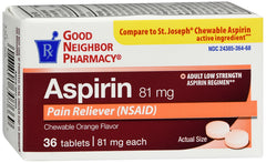 GNP ASPIRIN 81MG for Adult chewable Tablets ORNG 36 CT
