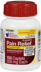 GNP Extra Strength Pain Relief Caplets, 500mg Acetaminophen, 150 Count