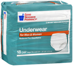GNP Underwear for Men and Women Moderate Plus Absorbency, 4 Packs of 18