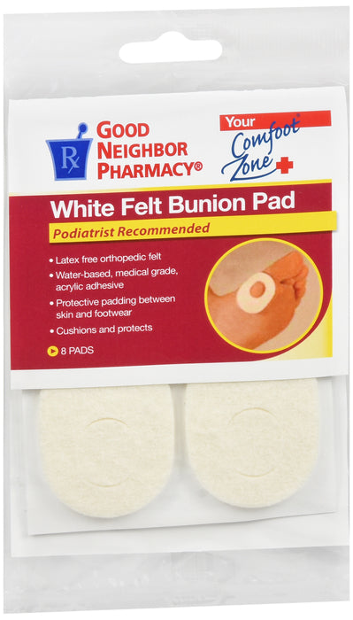 GNP White Felt Bunion Pad, 3 Packs Of 8 Pads