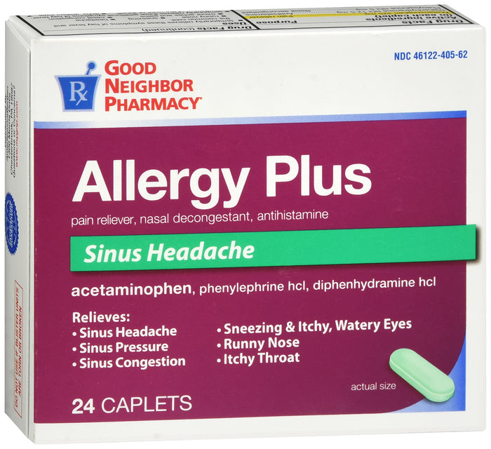 GNP Allergy Plus Sinus Headache, 24 Caplets