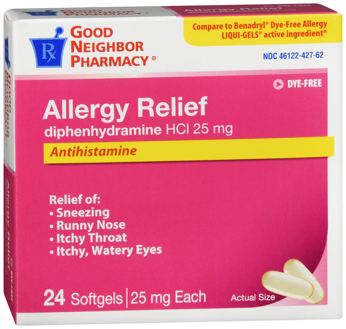 GNP Dye-Free Allergy Relief 25mg, 24 Softgels