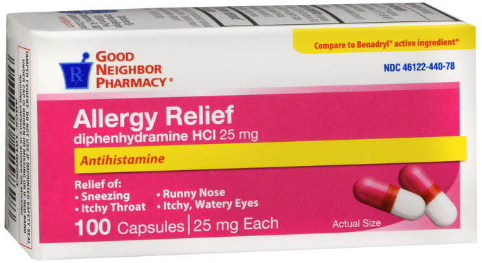 GNP Allergy Relief 25mg, 100 Capsules