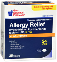 GNP Levocetirzine Allergy Relief 5MG, 35 Tablets
