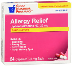 GNP Allergy Relief 25mg, 24 Capsules