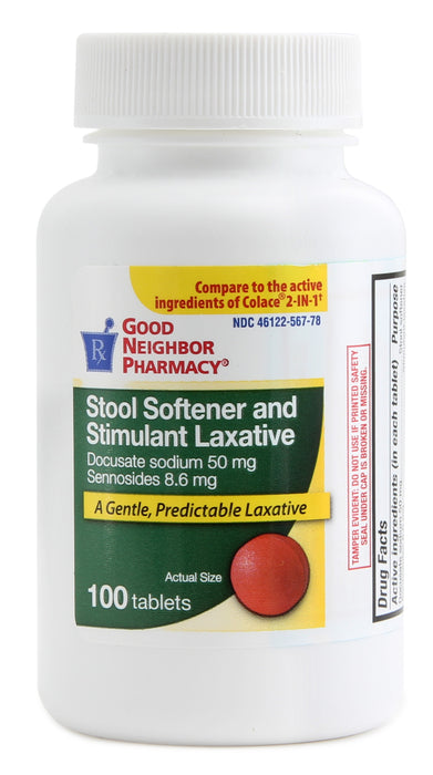 GNP STOOL SOFT AND LAX 8.6MG TAB, 100CT