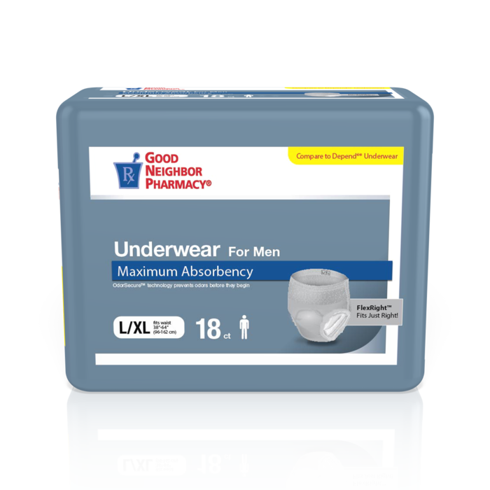 GNP Underwear For Men Max Absorbency LG/XL, 4 Packs of 18