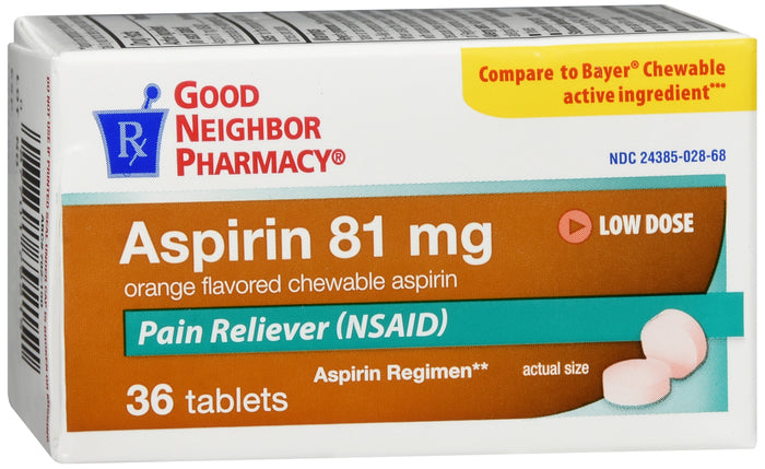 GNP ASPIRIN 81MG  ORANGE CHEW TAB 36