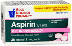 GNP ASPIRIN 81MG  CHERRY CHEW TAB 36