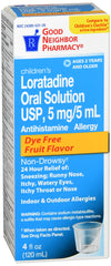 GNP Loratadine Oral Solution 5mg Dye Free Fruit flavor, 4 Fl Oz