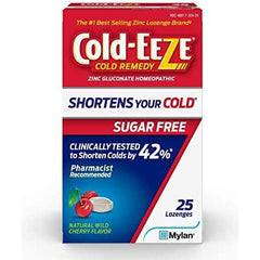 Cold-Eeze Sugar Free Wild Cherry Cold Remedy Lozenges, 25 Count