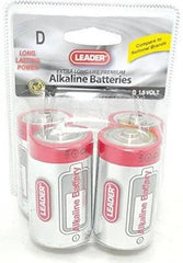 Leader D Batteries, Alkaline, 4 Pack