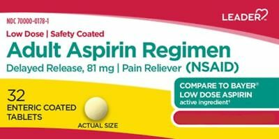 Leader 81mg Aspirin Enteric Coated Tablets, 32 Count