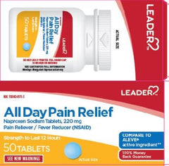 Leader All Day Pain Relief Naproxen Sodium 200mg Tablets, 50 Count