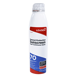 LEADER Sunscreen General Protection SPF 70 Clear Continuous Spray 5.5 oz