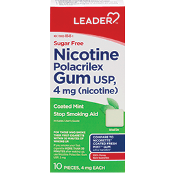 Leader Nicotine Gum 4 Mg Mint, Sugar Free 10 Ct