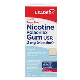 Leader Nicotine Gum 2 Mg Orig, Sugar Free 50 Ct