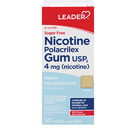 Leader Nicotine Gum 4 Mg Original Flavor, Sugar Free 50 Ct