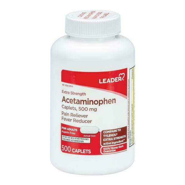 Leader Extra Strength Acetaminophen Caplets, 500mg, 500 Count